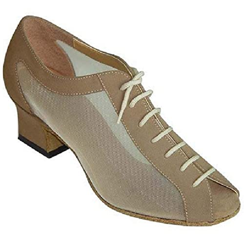 3aa9e1aeb182a Ladies Coffee Nubuck and Mesh Lace Up Peep Toe Dance Shoes for Line ...