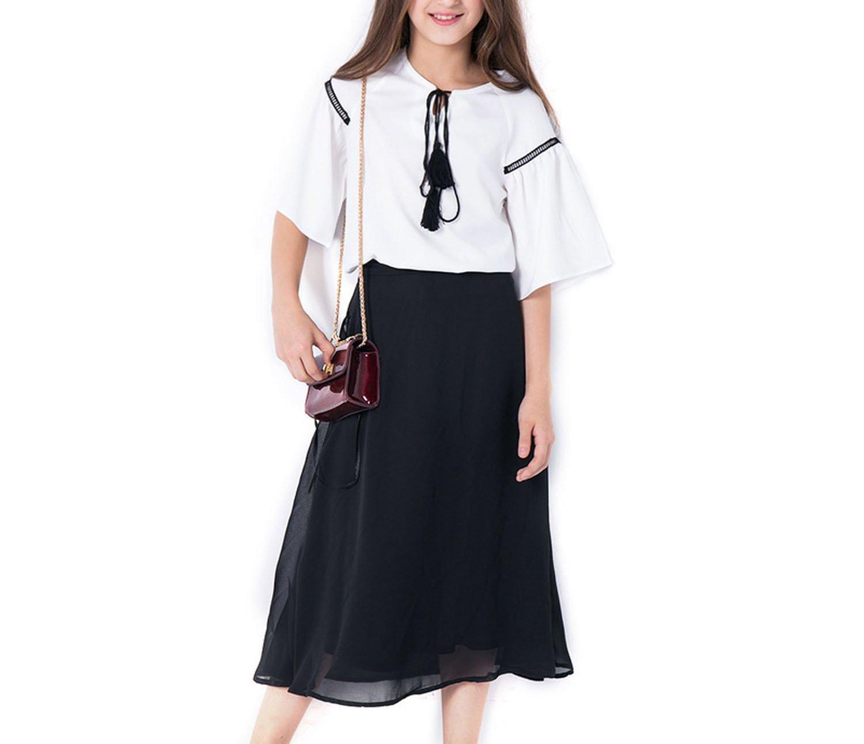 Zcaosma Teenage Girls Chiffon Sets 2 Piece Girls Skirts and Tops Girls Outfit,White,12