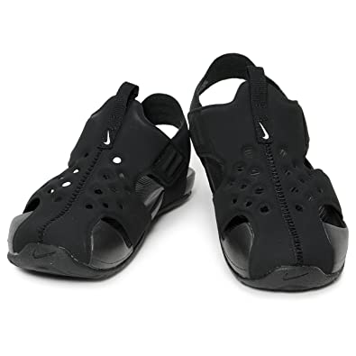 a3378a9f34522 Nike Kids Sunray Protect 2 (PS) Sandals Black White Size 12
