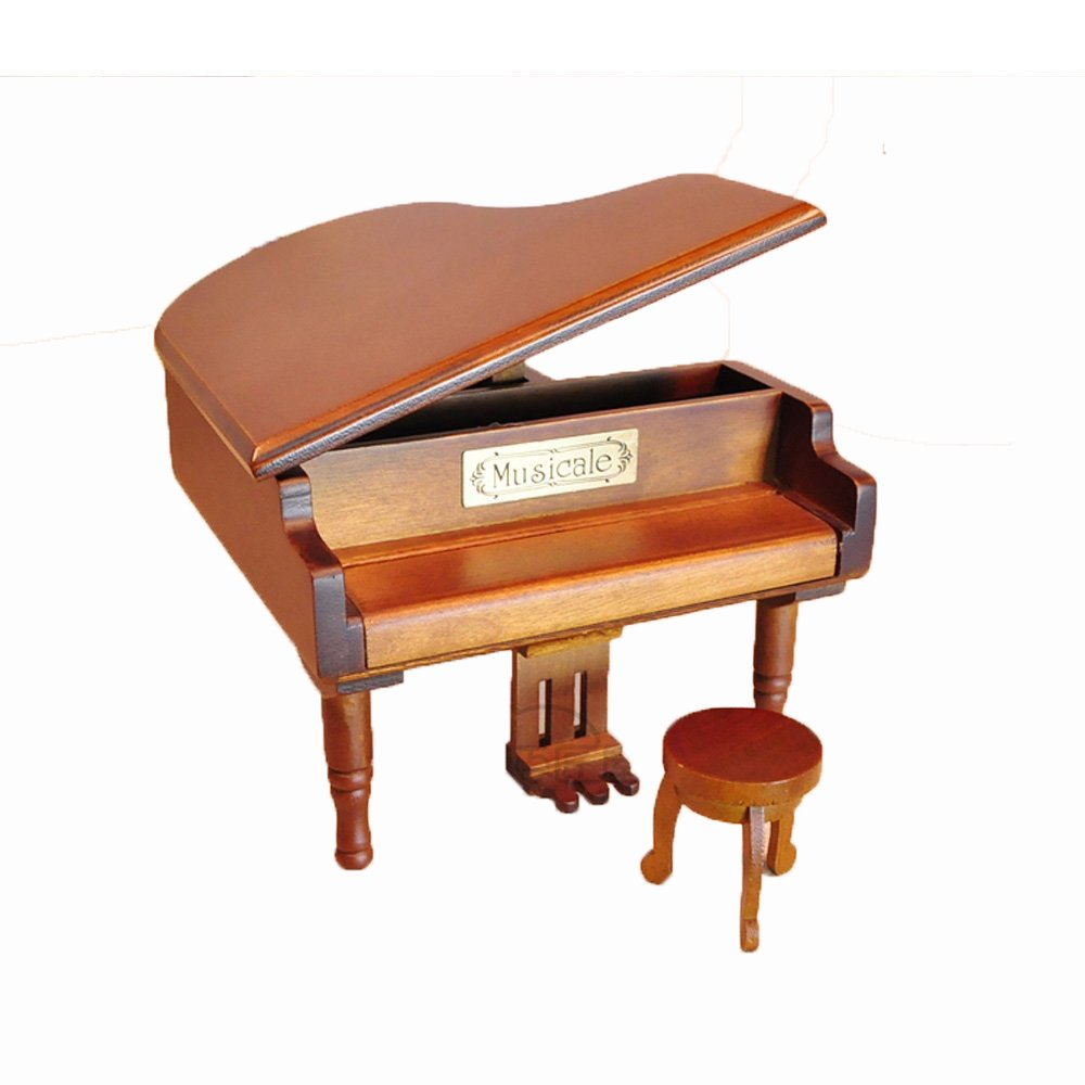 Antique Vintage Wind up Wooden Music Box Piano Play Lilium of Elfen Lied, Different Color Available (Original wooden color)