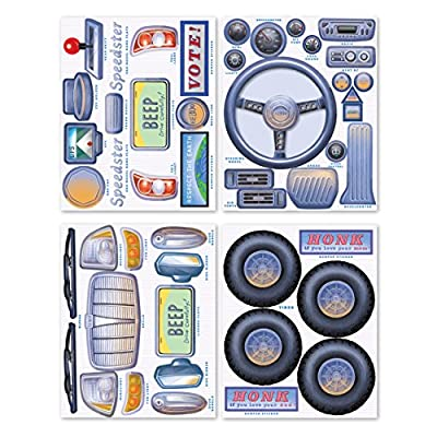 eeBoo Pretend Play for Kids Cardboard Box Reusable Stickers, Car: Toys & Games