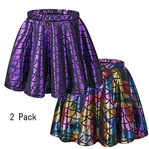 BAOHULU Girls Skirt Fish Scale Dress up Costumes Purple/Colorful,L 2Pack]()