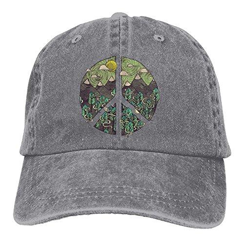 si fang Adult Nature Peace Sign Denim Baseball Hat Adjustable Dad ()