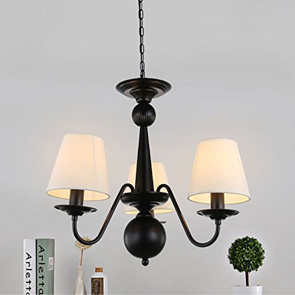 Cloth Cover American Chandeliers Pendant Lighting 3 Lights Antique Black Wrought Iron Ceiling Lamp Fixture Modern White Fabric Lampshade for Restaurant, Dining Room, Living Room by YANCEN (Image #4)