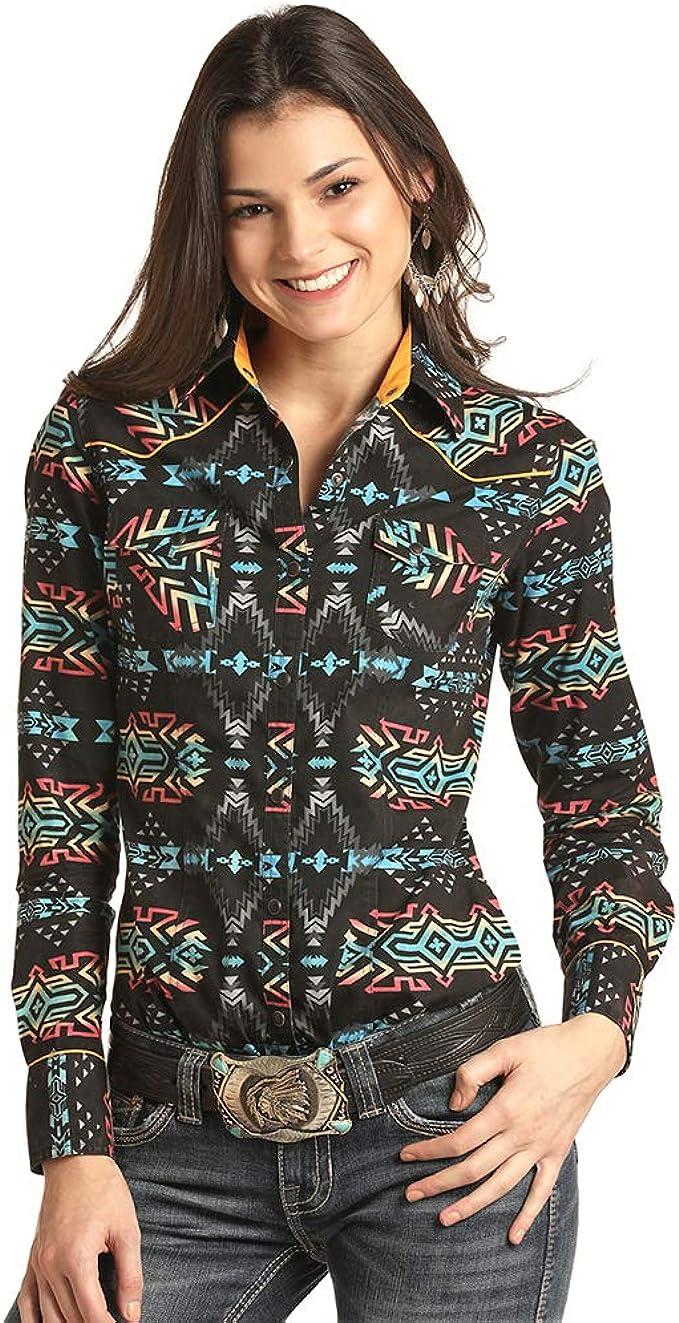 Panhandle Rock & Roll - Camisa Vaquera Juvenil con Estampado Azteca Lavado - Negro - Small: Amazon.es: Ropa y accesorios