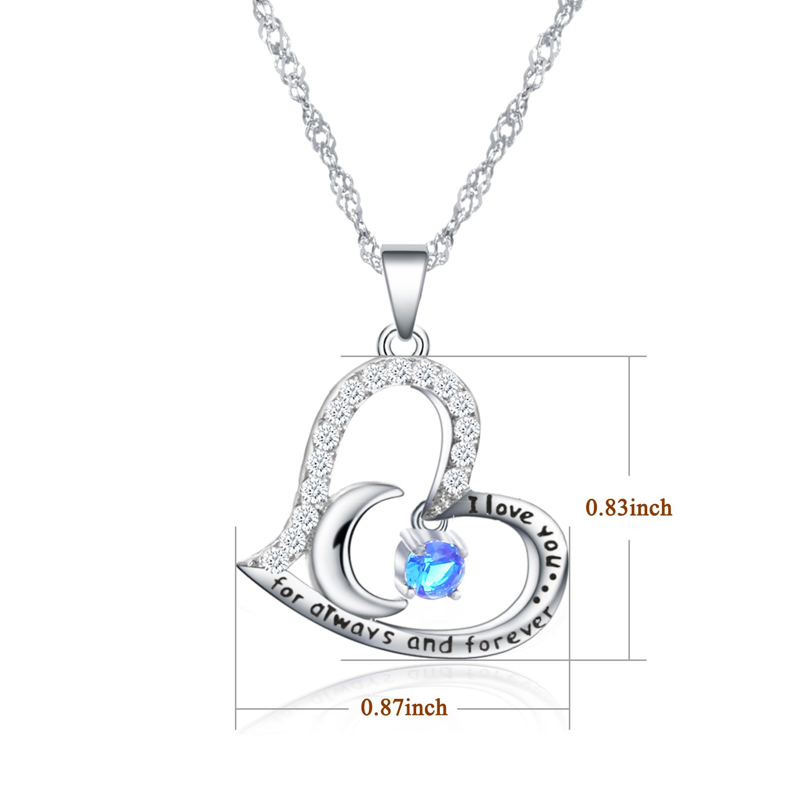 Valentine's Day Gift Fine Jewelry Gift Sterling Silver Heart Pendant Necklace Birthday Necklace I Love You For Always and Forever Dancing Birthstone (09-September-Sapphire) by Anna Crystal Jewelry (Image #5)
