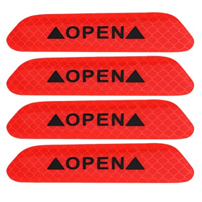 4pcs Car Reflective Safety Stickers, Keenso Auto Self Adhesive Waterproof Safety Warning Caution Decals OPEN Stickers (Red): Automotive