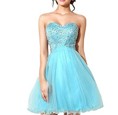 KA Beauty Womens Sweetheart Crystal Beading Short Prom Dresses Blue UK6