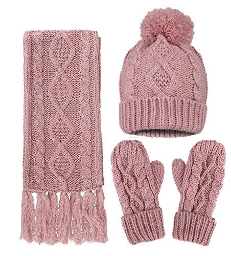 oft Warm Thick Cable Hat Scarf & Gloves Winter Set, Pink ()