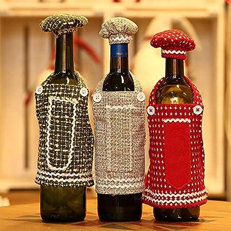 Wangji Bolsa de Botella de Vino de Lino Delantal de Adorno de Navidad 3: Amazon.es: Hogar