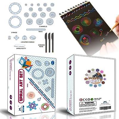 MC CHENMEI Spirograph & Scratch Art Notes 2 in1 Deluxe Set para niños: Juguetes y juegos