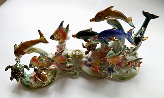 Feng Shui Ocean with Dolphins Hand Crafted and Decorated Chinese Porcelain Figurine 11006 Turtles and Fishes