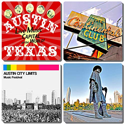 (EXIT82ART - Stone Drink Coasters (Set of 4) - Austin, Texas - Live Music Themed. Tumbled Stone, Cork-Backed.)