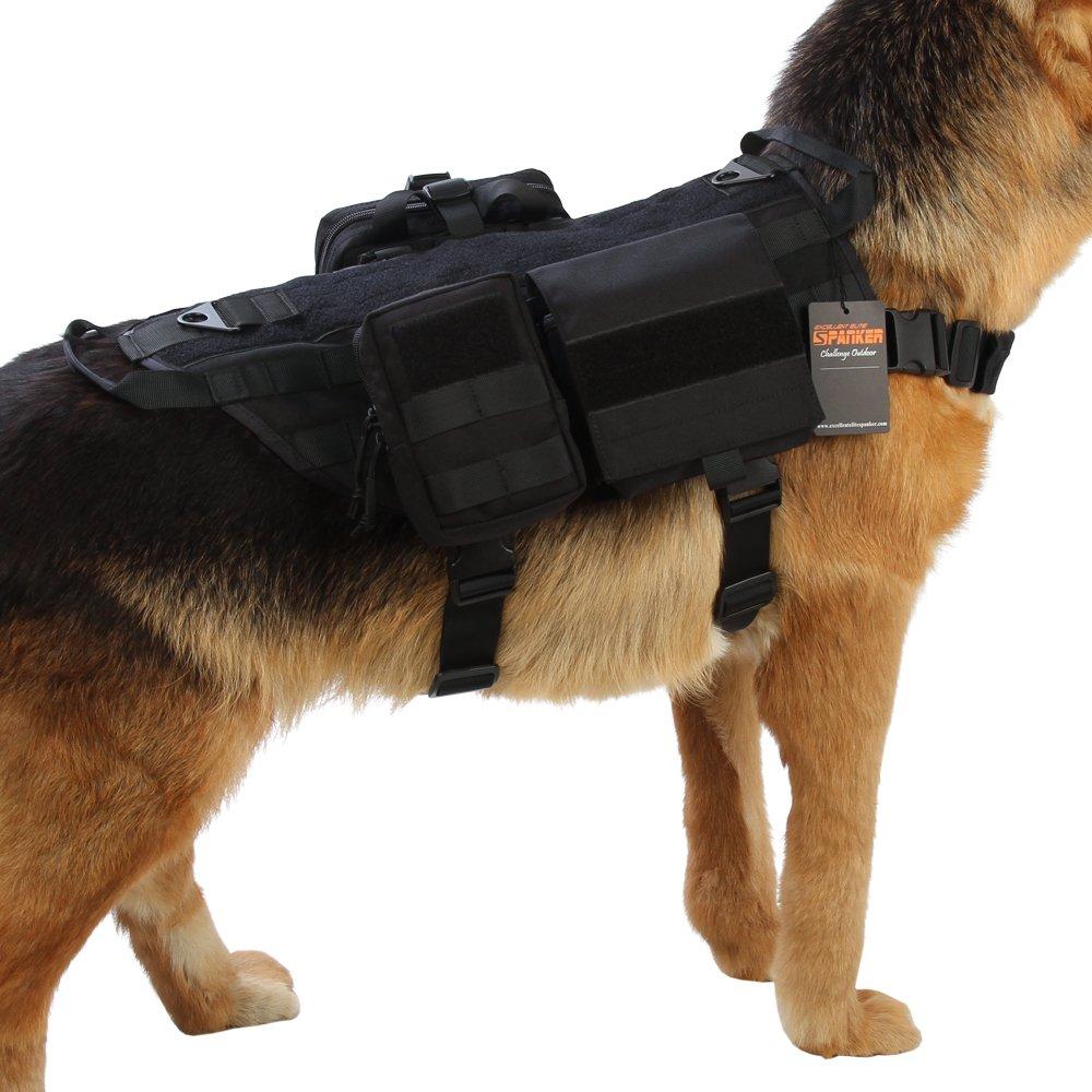 Excellent Elite Spanke Tactical Dog Vest Molle Harness Handle with 2~3 Detachable Pouches Packs(Black-M)