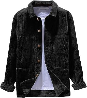 Aoukey - Camisa de Pana para Hombre, Color Liso, Informal, de otoño, de Moda, de Manga Larga, Blusa - Negro - Medium: Amazon.es: Ropa y accesorios