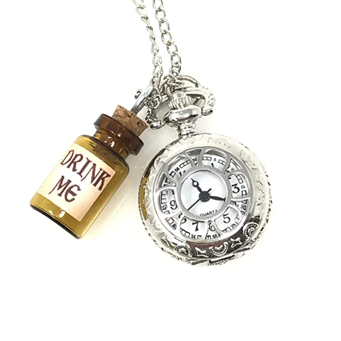 b8ef88c2d06d1 Amazon.com  Alice in Wonderland Tea Party Steampunk Pocket Watch Necklace  Costume Accessory