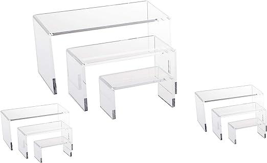 NicePackaging 9 Piece Set Clear Acrylic Display Risers Acrylic Clear Riser Set
