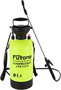 Futone 2.0 Gallon Garden Sprayer Water Pump Pressure Sprayers with Rod Handle and Adjustable Shoulder Strap for Lawn and Garden - (8.0L Lime Yellow)