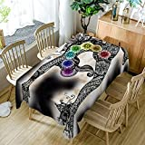 Chakras Tablecloth Modern Decor The Heart Creates Artwork Seven Chakras And Meditation Polyester Fabric Table Cloths Dining Room Kitchen Rectangular Table Cover 52W X 70L Inches White And Black