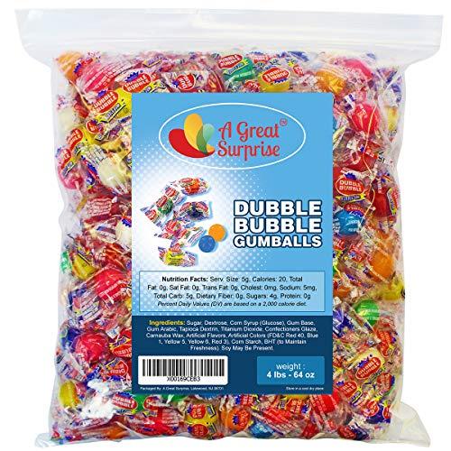 Dubble Bubble Gumballs - Dubble Bubble Gum - Double Bubble Gum - Gumballs Assorted Fruit Flavors, Individually Wrapped Bulk Candy 4 LB Party Bag, Family Size