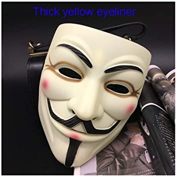 Máscara V Palabra Vendetta Adulto Mascarilla Masculina Halloween Mascarada V (Color : Thick Yellow Eyeliner