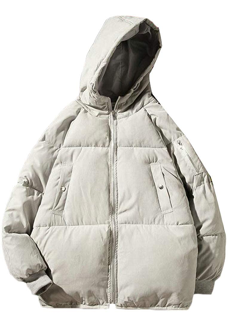 Pandapang Mens Packable Plus Size Winter Quilted Hooded Down Jacket Outwear Parka Coat