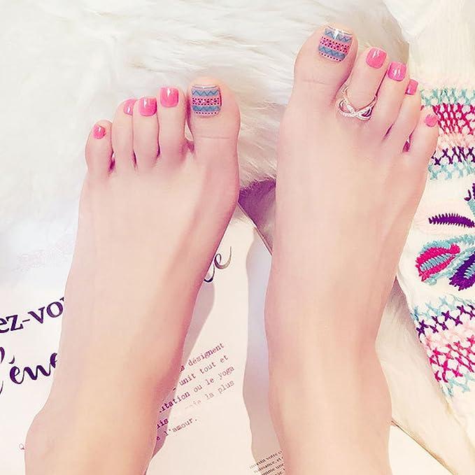 24 uñas postizas para los dedos del pie de LA HAUTE, pedicura DIY, uñas artísticas: Amazon.es: Belleza
