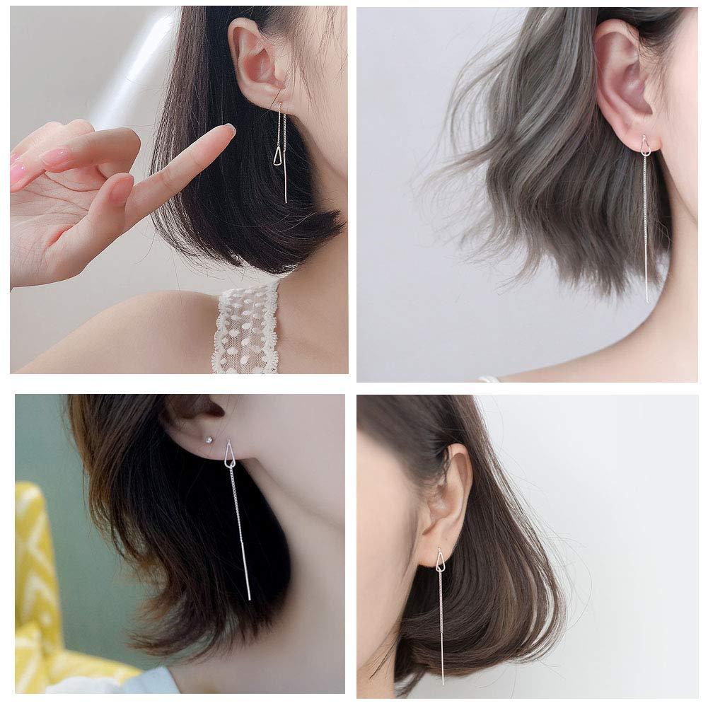 MSECVOI 925 Sterling Silver Tassel Threader Dangle Earrings Teardrop Long Chain Ear Line for Women Girls