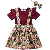 WOSENHK Baby Girls Dress Suspender Skirt Set Ruffles Tops Plaid Skirt Clothes