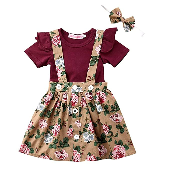 2ab38cdeb132 Toddler Baby Girl Outfits Ruffle Romper Top+Suspender Braces Skirt Overalls  Clothes Set (0