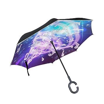 jstel doble capa diseño abstracto música notas musicales paraguas coches Reverse resistente al viento lluvia paraguas