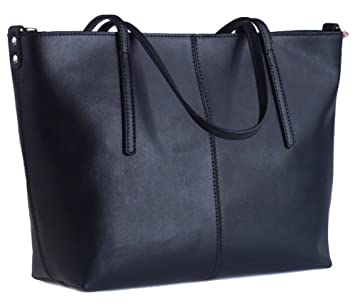 ee339ee32c1c Buy ilishop Women s Large Leather Shoulder Bag Work Tote with Zippers (Black -Small) Online at Low Prices in India - Amazon.in
