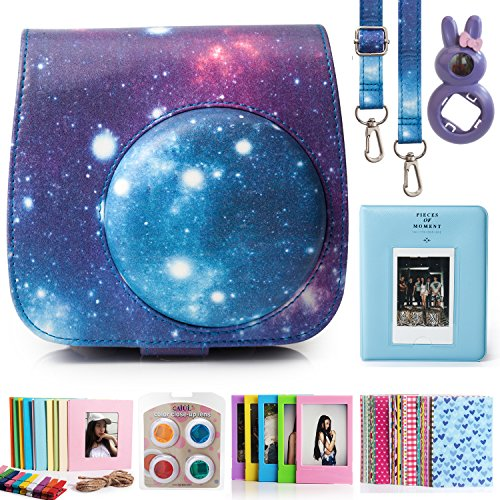 CAIUL Compatible Fujifilm Instax Mini 9 Film Camera Bundle with Case, Album, Filters & Other Accessories for Fujifilm Instax Mini 9 8 8+ (Galaxy, 7 Items)