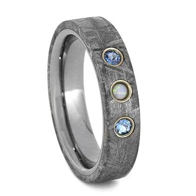 Amazoncom Aquamarine White Opal Gibeon Meteorite 4mm ComfortFit