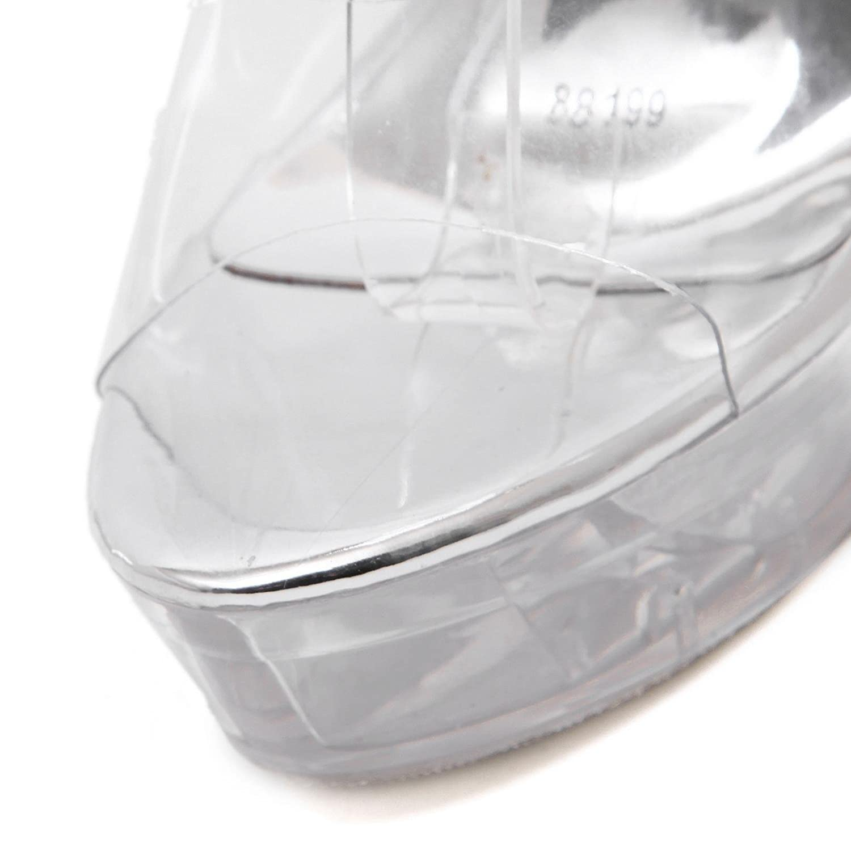 Damen Neue Metall Peep Stilett High Heel Knöchelriemen Sandalen Schuhe Peep Metall Toe Platform Transparente PU Herbst Frühling Club Party Nightclub Weiß 05c848