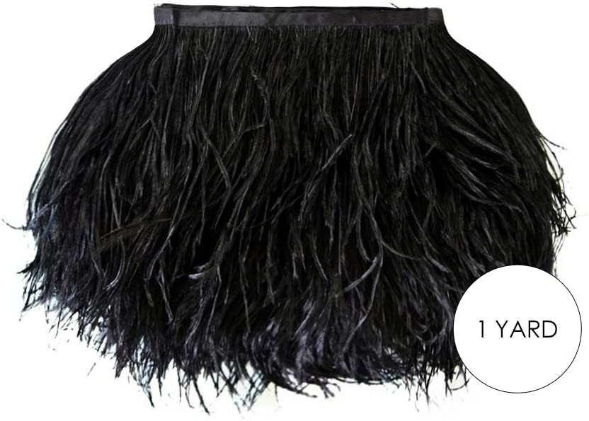 10 Yards Brown Ostrich Fringe Trim Wholesale Feather Craft Prom Dress Supplier