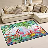 ALAZA Tropical Exotic Pink Flamingo Leaf Watercolor Area Rug Rugs Mat for Living Room Bedroom 6'x4′