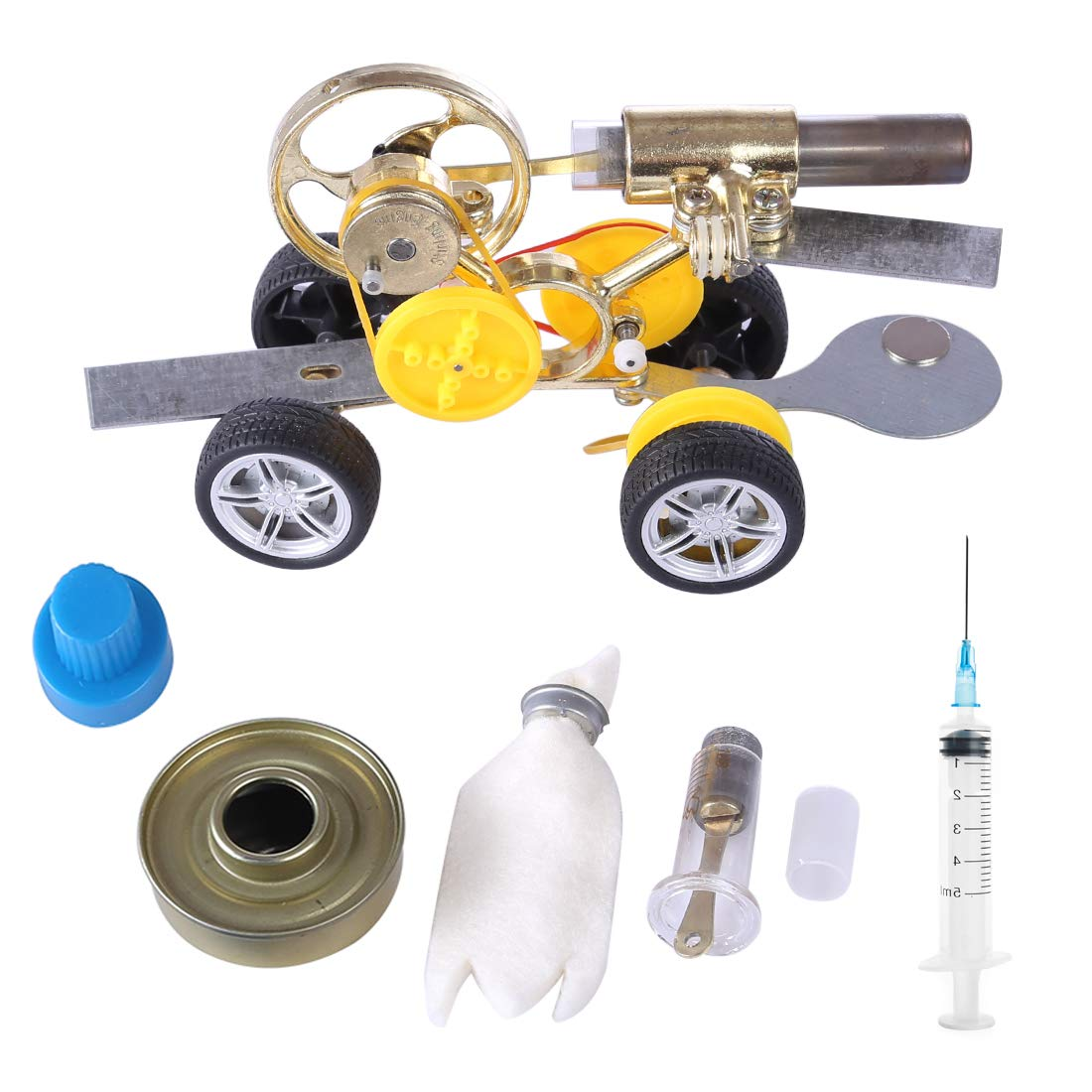 ZUJI Stirlingmotor Bausatz Motor Stirling Engine Kit DIY Auto Fahren Modell Educational Physik Spielzeug