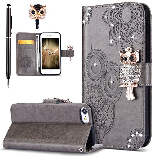 iPhone 8 Case,iPhone 7 Case,ikasus Bling Diamonds Glitter Embossing Mandala Owl PU Leather Fold Wallet Flip Stand Protective Case Cover + Dust Plug & Stylus for Apple iPhone 7 / iPhone 8,Gray