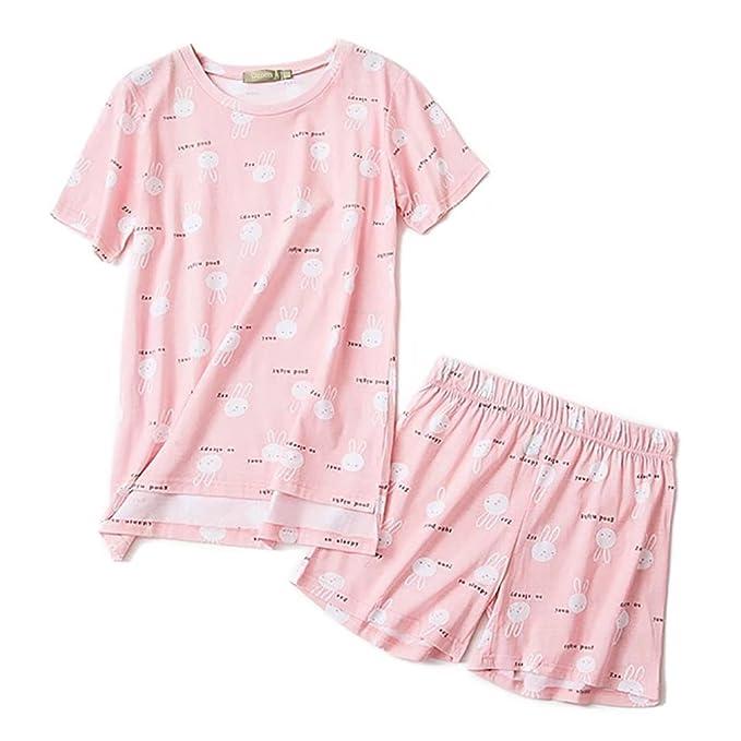 Backbuy Pijamas cortos para mujer Algodón Ropa de dormir Camiseta y pantalones cortos 100% algodón