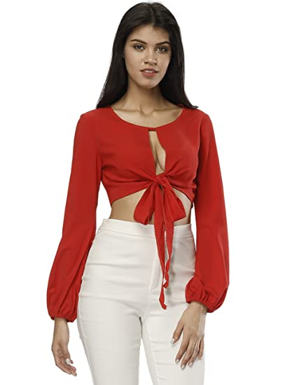 a7b96a361bc44 Fancyqube Women s Lantern Sleeve Chiffon Sexy Hollow Out Front Crop Tie Top  Top Cardigan T-
