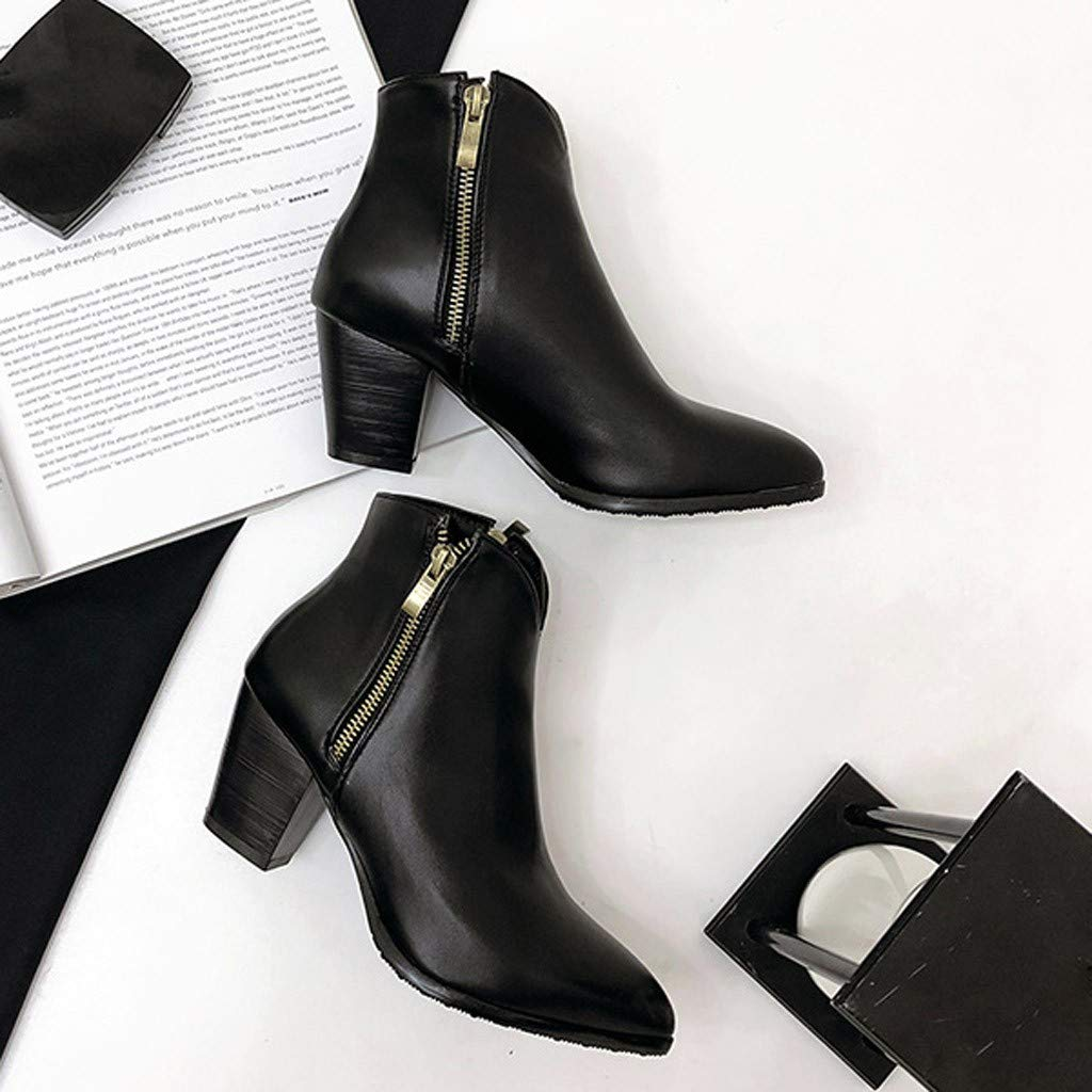 Women Chunky High Heel Platform Ankle Boots Side Zipper Slip On Pointed Toe Booties Pump Dress Shoes Wide Width
