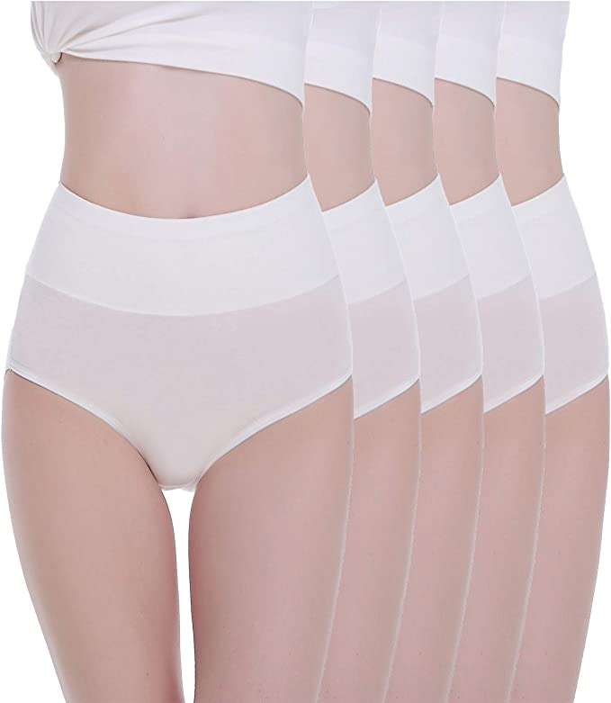 TUUHAW Braguita de Talle Alto Algodón para Mujer Pack de 5 Culotte ...