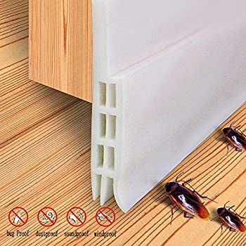 Door Insulation Door Weather Stripping Sound Proof Door Strip Door Draft Stopper2  W x 39  L(White) & Sound Proof Door Strip - Under Door Sweep Weather Stripping Seal ...