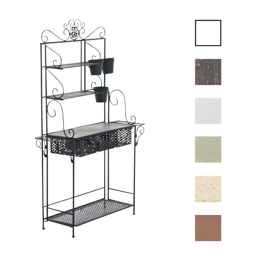 CLP XL Pflanzen-Regal SHINE, Eisen, 4 Ablageflächen, 3 Schubkörbe, Höhe ca. 150 cm, Breite 95 cm, Tiefe 30 cm schwarz