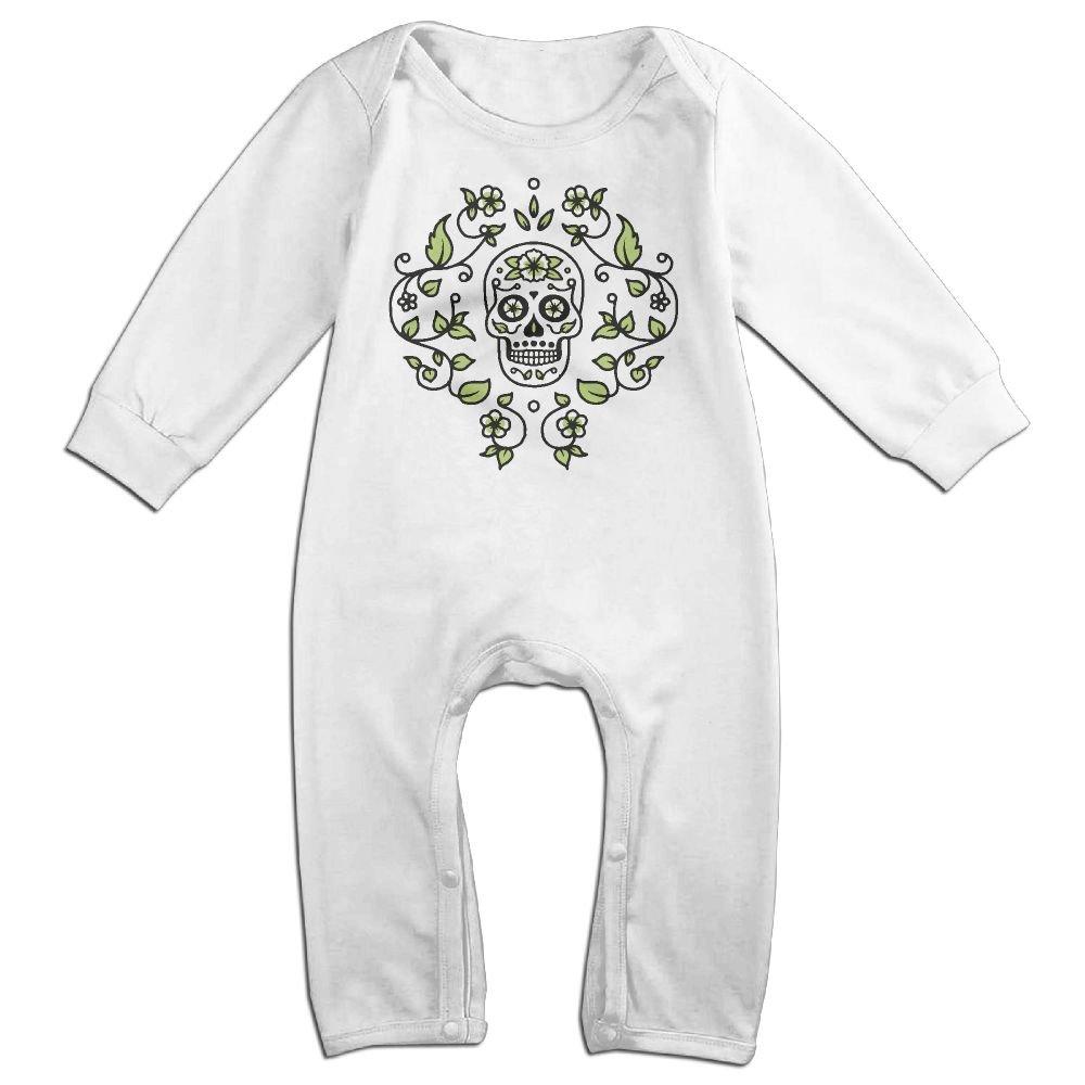 Mrei-leo Baby Boy Girl Bodysuits Sugar Skull Floral Vine Toddler Jumpsuit