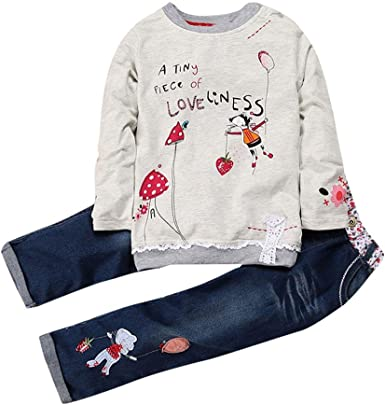Pantalon Ray/é 2Pcs Costume Baohooya Ensemble Bebe Fille 18Mois-6 Ans Hiver Chaud Enfant Vetements Manches Longues Couleur Unie Bow Tops