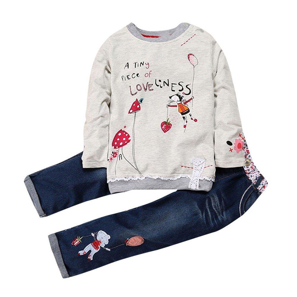 Feixiang Carta de Manga Larga para niñ os Conjunto con Estampado de Dibujos Animados Top + Jeans Conjunto de Dos Piezas 2-7 añ os Ropa Casual para niñ os y niñ as