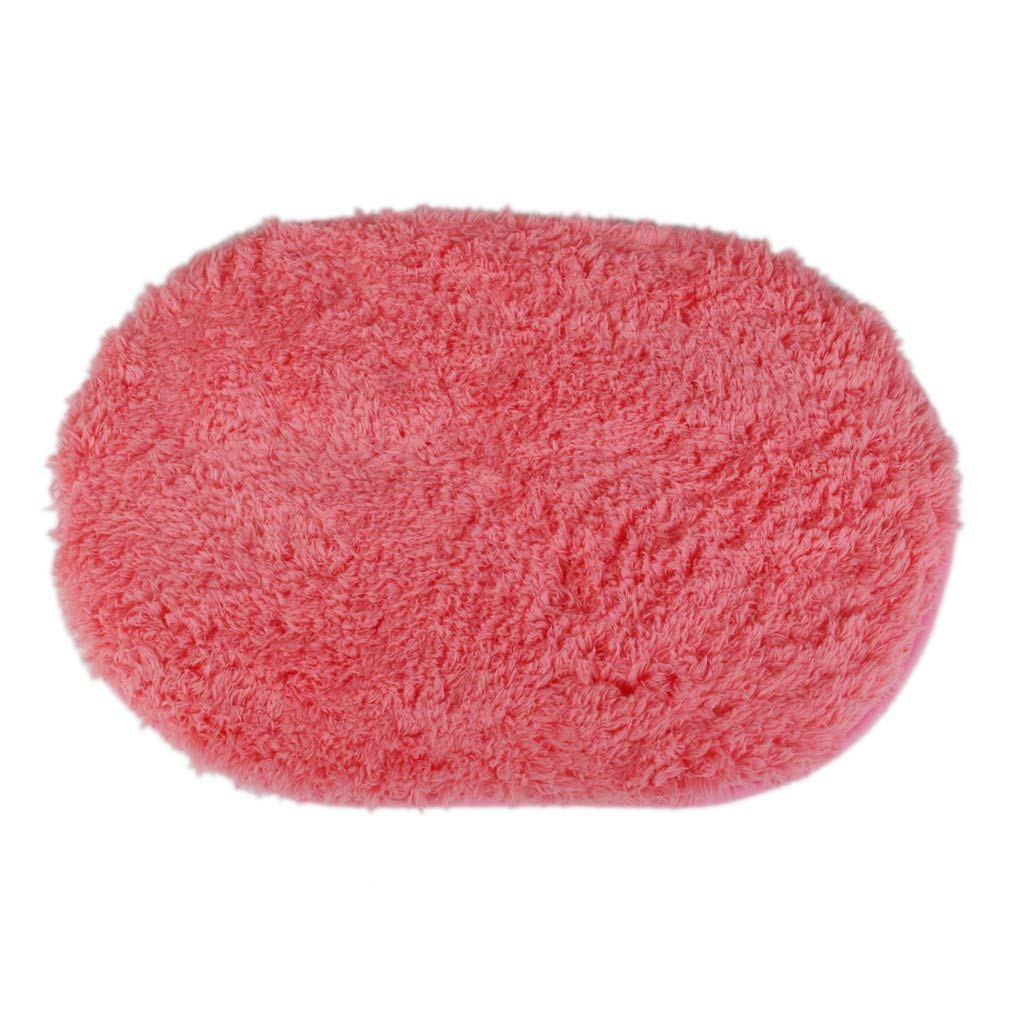 Polymer Absorption Bath Mat Soft Floor Rug Bedroom Cozy Shaggy Rug Oval Living Room Carpet (Watermelon Red)