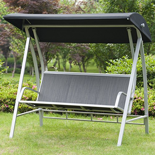 PatioPost Swing Lounge Chair Outdoor Canopy Sling Textilene Chair 3 Seats Porch Patio Furniture (Patio Porch Ideas Furniture)
